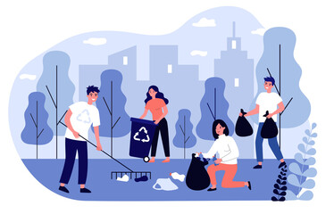 Happy volunteers collecting garbage in city park flat illustration. People cleaning environment nature in team. Ecology and clean planet concept