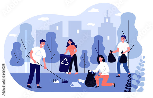 Happy volunteers collecting garbage in city park flat illustration. People cleaning environment nature in team. Ecology and clean planet concept - fototapety na wymiar