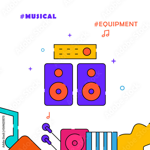 Tablou Canvas Amplifier speakers filled line icon, simple illustration