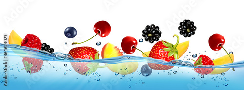 Photo Fresh fruits and berries splashing in water waves with air bubbles and sunbeams