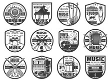 Musical Instruments And Sound Records Icons, Music Vinyl Store And Studio Vector Labels. Music Instruments Shop, On Air Radio Microphone, Music School, Live Concert Show And Folk Music Festival