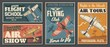 Flight school tours and club posters, aviation air show, professional pilot association, vector. Civil aviation, airplane island flight trips, propeller airplane show vintage retro posters