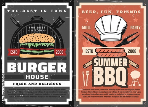 Meat burgers and BBQ posters, grill food party, vector barbecue steaks and sausages. Summer BBQ charcoal meat steaks, sausages and burgers, toque hat, knife, fork and spatula and knives on fire flame