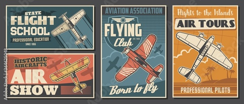 Fotomural Flight school tours and club posters, aviation air show, professional pilot association, vector