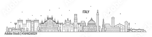 Foto Italy skyline country buildings vector linear art