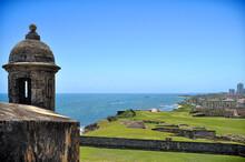Garita (Sentry Box) In Old San Juan, Puerto Rico Overlooking The Atlantic Ocean