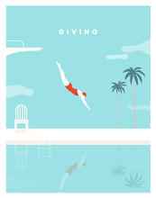 Woman Character Dives. Jumping Into Water. A Jump Of A Sporty Woman Into Swimming Pool. Female Wearing Swimming Suit. Diving Board, Palm Tree, Chair. Modern Style. Vector Flat Illustration.