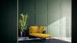 Leinwandbild Motiv Modern vintage living room interior with green wall. Furnished with yellow sofa. room mockup stylish 3d render
