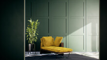Modern Vintage Living Room Interior With Green Wall. Furnished With Yellow Sofa. Room Mockup Stylish 3d Render