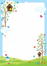 A Natural Background With The Theme Of The House Of Birds On The Tree.Vector Source For Moving And Editing Individual Images.