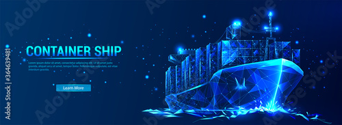 Photo Сontainer ship, cargo ship in futuristic polygonal style with wireframe, triangles low poly on blue background with stars