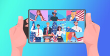 People With Usa Flags Celebrating 4th Of July American Independence Day Celebration Online Communication Concept Tablet Screen Horizontal Portrait Vector Illustration