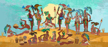 Pyramid And Tribe. Maya Background. Historical Art. Ancient Mexican History. Ancient Mayan. Mural Painting. Old Frescos Style. Conquistadors And Aztec And Inca People