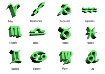 3d Zodiac signs astrological horoscope  image
