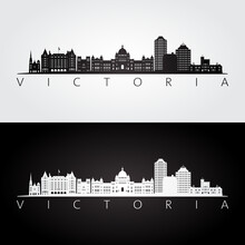Victoria, Canada Skyline And Landmarks Silhouette, Black And White Design, Vector Illustration.