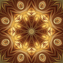 Abstract Fractal Golden Brown ...