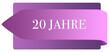 Leinwanddruck Bild - 20 Jahre web Sticker Button
