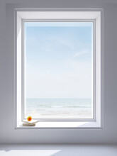 Large White Window Frame Looking Out To See The Sea View There Is Sunlight Entering The Room. Decorated With Books And Apples,3d Render