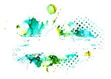 Blue And Green Blots Backgroun...