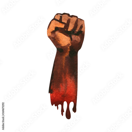 Valokuva Clenched fist held in protest, hand popular protest, proletarian independence pr