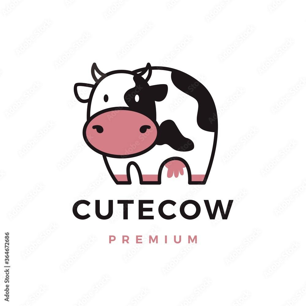 Fototapeta cute cow logo vector icon illustration
