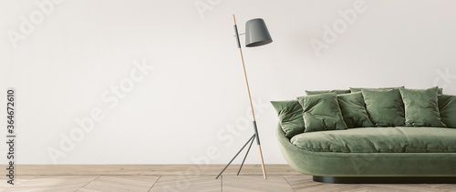 Photo Modern living room design, green sofa and wooden floor lamp on empty white wall,