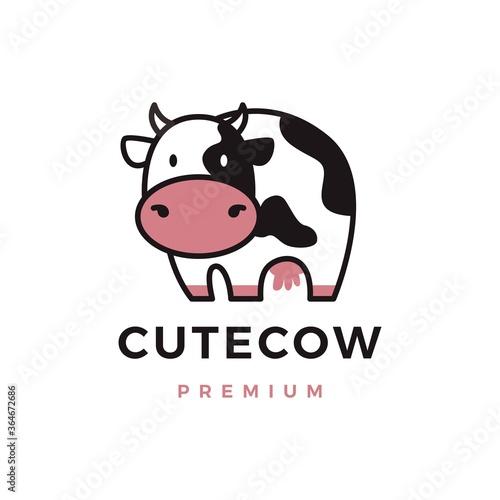 Fototapeta cute cow logo vector icon illustration obraz