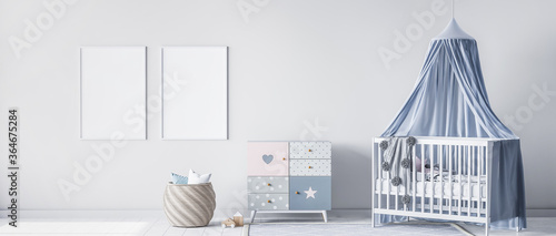 Mock up frame for bright nursery bedroom with white crib and rattan basket, panorama, 3d render