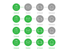 Delivery Order Status. Shipping Process Steps In Green Color. Shipment Tracking Map. Set Of Parcel Infographic. Ordered, Packed, In Transit And Delivered Status. Isolated Delivery Status. EPS 10.