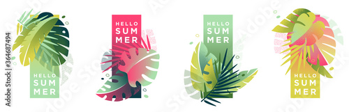 Fototapeta Tropical artistic banners set. Creative compositions of colorful palm leaves and abstract patterns with place for text. Summer sale posters, social media promotion design templates obraz