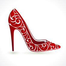 Red High Heel Shoe On White Ba...