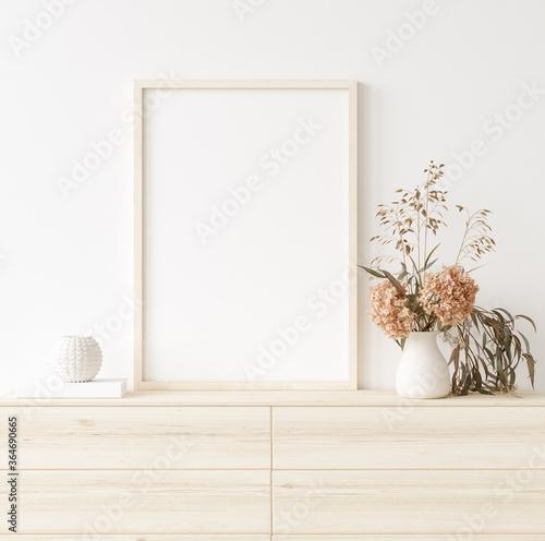 Obraz Mock up frame in home interior background, white room with natural wooden furniture, Scandi-Boho style, 3d render - fototapety do salonu