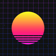 Retro 80's Vibes Sunset On Grid | Gradient Galaxy Space