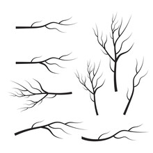 Vector Set Dry Tree Branches. ...