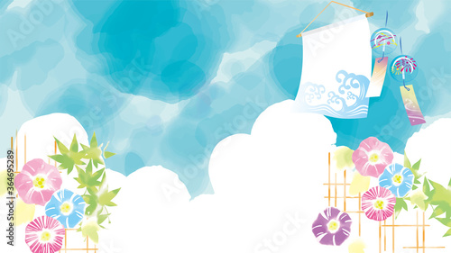 Obraz na plátně 水彩画の様な爽やかな朝顔と青空