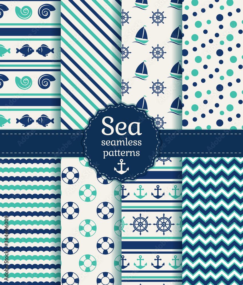 Fototapeta Sea seamless patterns. Vector collection.