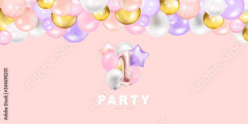 Photo Luxury Gold and Blue foil balloons with confetti in white background vector