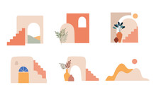 Abstract Architecture, Mountains, Town And Shapes. Morocco, Mexico, Middle East. Vector Elements And Illustrations