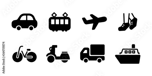 交通機関のアイコンのセット/シンプル/シルエット/乗り物 Fototapet