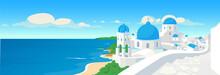 Greek Coastal Town Flat Color ...
