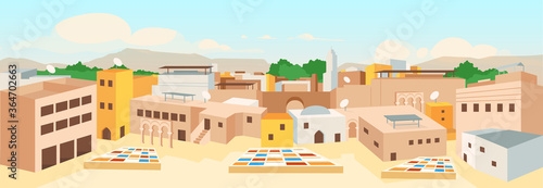 Old arab city flat color vector illustration