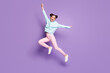 canvas print picture - Full length body size view of nice attractive lovely slim ecstatic cheerful glad girl jumping having fun fooling isolated on violet purple lilac bright vivid shine vibrant color background
