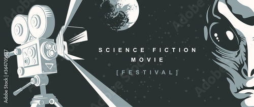 Cinema poster for science fiction movie festival with old-fashioned movie projector, alien face and moon on the starry sky Wallpaper Mural