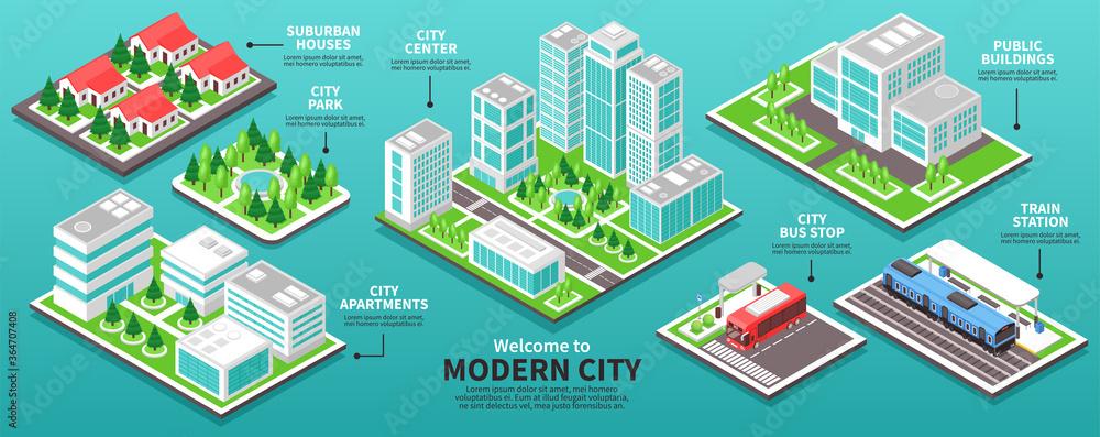 Fototapeta Isometric Modern City Infographics