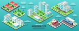 Fototapeta Miasto - Isometric Modern City Infographics