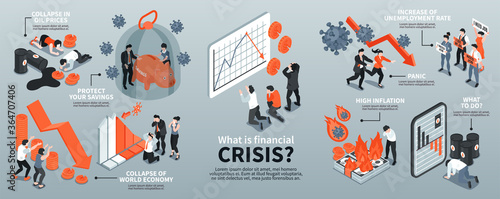 Isometric Financial Crisis Infographics