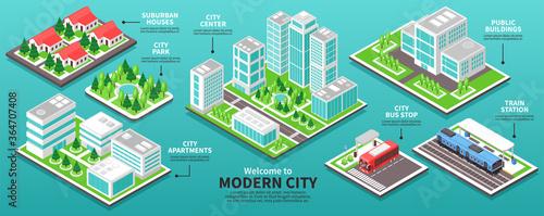 Fotomural Isometric Modern City Infographics
