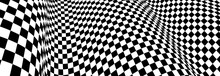 Checker Pattern Mesh In 3d Dimensional Perspective Vector Abstract Background, Formula 1 Race Flag Texture, Black And White Checkered Illustration.