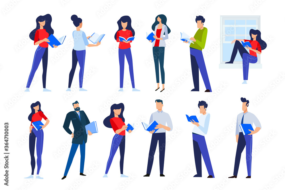 Fototapeta Vector illustrations of people in different poses read a book. Concepts for graphic and web design, marketing material, business presentation templates, education, book store and library, e-book.