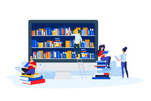 Library, Book Store And E-book. Vector Illustrations Of A Man And A Woman Read Books In Front Of The Bookshelf. Concepts For Graphic And Web Design, Book Store And Library, E-book.
